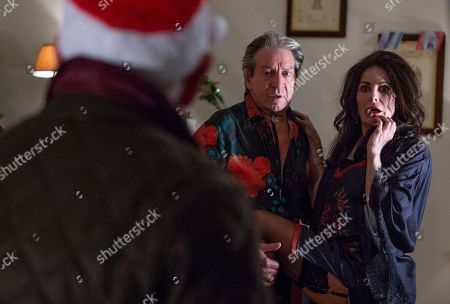 Stock Image of Ep 8344 Thursday 20th December 2018 - 2nd Ep Faith Dingle, as played by Sally Dexter, has a plan to get Rodney Blackstock, as played by Patrick Mower, out of Pollard's house but after a few failed attempts, Faith uses her womanly charms to seduce Rodney. As Pollard, as played by Christopher Chittell, walks in on them kissing, will Faith's plan have worked?