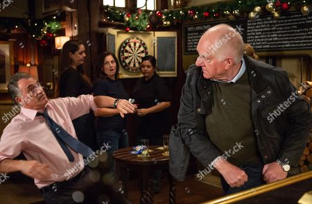 Ep 8330 Wednesday 5th December 2018 Doug Potts, as played by Duncan Preston, heads to the pub and sees Bob Hope, as played by Tony Audenshaw, being overly friendly with some female customers. Doug confronts Bob about his feckless behaviour and eventually snaps and punches him.