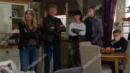 Ep 8334 Monday 10th December 2018 Daz Spencer, as played by Mark Jordon, is riddled with guilt as the villagers talks about the hit and run. With Charity Dingle, as played by Emma Atkins ; Kerry Wyatt, as played by Laura Norton; Dan Spencer, as played by Liam Fox; Noah Dingle, as played by Jack Downham.