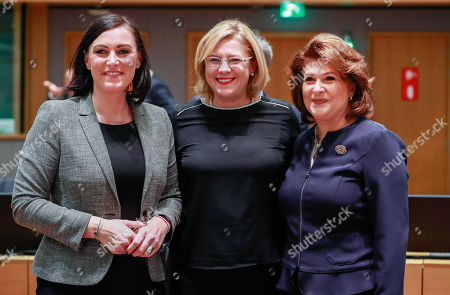Austrian Minister for Sustainability and Tourism Elisabeth Kostinger (L), European Commissioner for Regional Policy, Corina Cretu (C) and Rovana Plumb European Funds Minister of Romania General Affairs Council meeting on cohesion at the European Council in Brussels, Belgium, 30 November 2018.