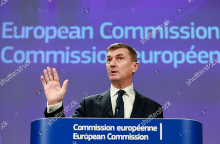 European Commissioner for Digital Single Market Andrus Ansip gives a press conference on the new EU Regulation entering into force to end unjustified geoblocking at the European Commission in Brussels, Belgium, 30 November 2018.