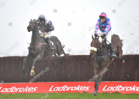 (L) Santini (Nico de Boinville) takes the last before going on to win The Ladbrokes John Francome Novices Steeple Chase from (R) Rockys Treasure (David Bass).