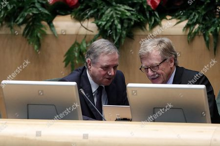 Ignazio Visco (L), Governor of the Bank of Italy, and Yves Mersch (R), member of the ECB Executive Committee, during the launch event of Target Instant Payment Settlement (TIPS) developed by ECB and Bank of Italy, in Rome, Italy, 30 November 2018.