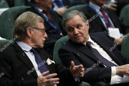 Ignazio Visco (R), Governor of the Bank of Italy, and Yves Mersch (L), member of the ECB Executive Committee, during the launch event of Target Instant Payment Settlement (TIPS) developed by ECB and Bank of Italy, in Rome, Italy, 30 November 2018.
