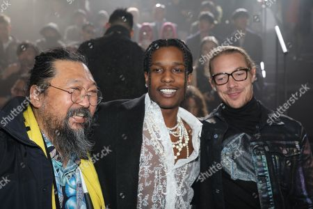 Takashi Murakami, Asap Rocky and Diplo in the front row
