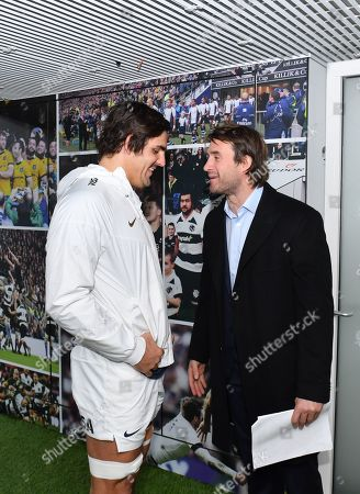 Argentina's Pablo Matera (Captain) with ex Puma Marcelo Bosch in the tunnel before the game