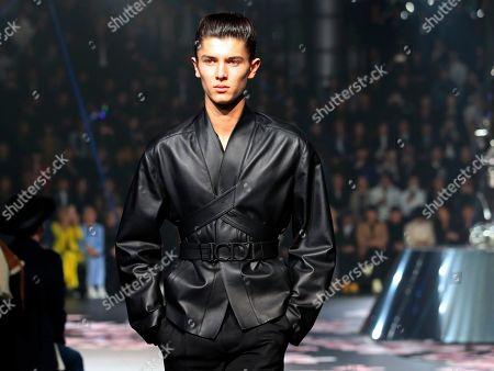 Prince Nikolai of Denmark presents creations from the Dior Men Pre-Fall 2019 collection by British fashion designer Kim Jones in Tokyo, Japan, 30 November 2018.
