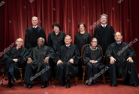 Stephen Breyer, Clarence Thomas, John G. Roberts, Ruth Bader Ginsburg, Samuel Alito Jr., Neil Gorsuch, Sonia Sotomayor, Elena Kagan, Brett M. Kavanaugh. The justices of the U.S. Supreme Court gather for a formal group portrait to include the new Associate Justice, top row, far right, at the Supreme Court Building in Washington, . Seated from left: Associate Justice Stephen Breyer, Associate Justice Clarence Thomas, Chief Justice of the United States John G. Roberts, Associate Justice Ruth Bader Ginsburg and Associate Justice Samuel Alito Jr. Standing behind from left: Associate Justice Neil Gorsuch, Associate Justice Sonia Sotomayor, Associate Justice Elena Kagan and Associate Justice Brett M. Kavanaugh
