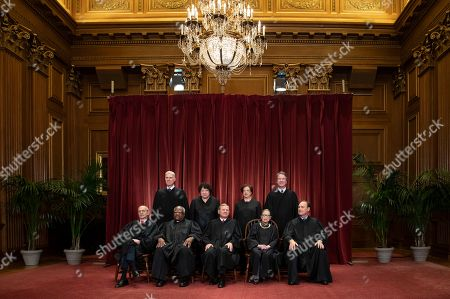 Stephen Breyer, Clarence Thomas, John G. Roberts, Ruth Bader Ginsburg, Samuel Alito Jr., Neil Gorsuch, Sonia Sotomayor, Elena Kagan, Brett M. Kavanaugh. The justices of the U.S. Supreme Court gather for a formal group portrait to include a new Associate Justice, top row, far right, at the Supreme Court Building in Washington, . Seated from left: Associate Justice Stephen Breyer, Associate Justice Clarence Thomas, Chief Justice of the United States John G. Roberts, Associate Justice Ruth Bader Ginsburg and Associate Justice Samuel Alito Jr. Standing behind from left: Associate Justice Neil Gorsuch, Associate Justice Sonia Sotomayor, Associate Justice Elena Kagan and Associate Justice Brett M. Kavanaugh