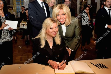 Stock Picture of French First Lady Brigitte Trogneux and Israel's First Lady Sara Ben-Artzi at Chateau De Versailles