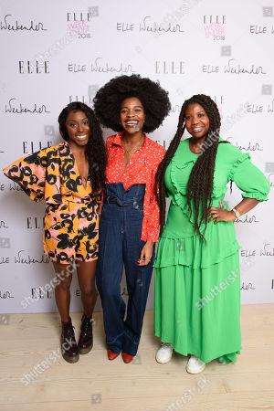 Stock Image of Laura Mvula, Freddie Harrel and Charlotte Mensah