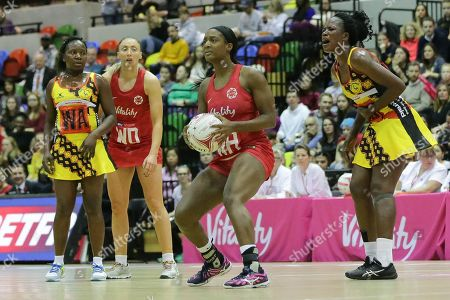Stock Image of England Women WA Sasha Corbin England Women WD Jade Clarke during the Netball World Cup 2019 Preparation match between England Women and Uganda at Copper Box Arena, Queen Elizabeth Olympic Park