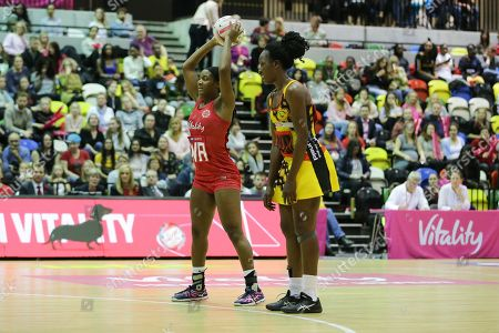England Women WA Sasha Corbin during the Netball World Cup 2019 Preparation match between England Women and Uganda at Copper Box Arena, Queen Elizabeth Olympic Park