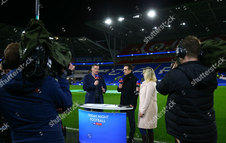 The Sky Sports Friday night football set up with Jamie Carragher, Gary Neville and Kelly Cates pitchside