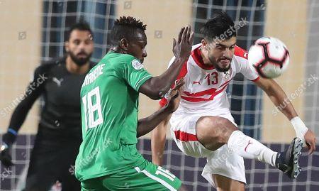 Zamalek SC player Ferjani Sassi   (R) in action against Al Ittihad Alexandria player Emmanuel Banahene (L) during the Zayed Club Champions Cup game between Zamalek SC and Al Ittihad Alexandria, in Cairo, Egypt, 30 November 2018.