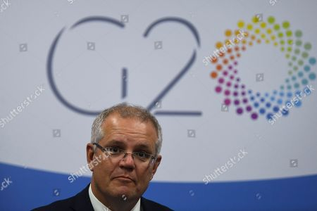 Australian Prime Minister Scott Morrison reacts during a meeting with the Secretary General of the OECD Jose Angel Gurria Trevino (not pictured) during the G20 summit in Buenos Aires, Argentina, 30 November 2018. The leaders of the world's largest economies arrived in Buenos Aires on Thursday for the first G20 summit to be held in South America.