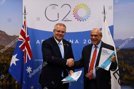Stock Image of Australian Prime Minister Scott Morrison (L) shakes hands during a meeting with the Secretary General of the OECD Jose Angel Gurria Trevino (R) during the G20 summit in Buenos Aires, Argentina, 30 November 2018. The leaders of the world's largest economies arrived in Buenos Aires on Thursday for the first G20 summit to be held in South America.
