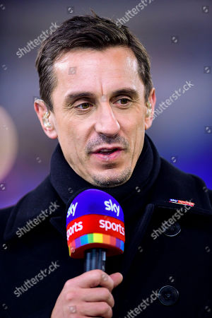 Jamie Carragher talks with Gary Neville and Kelly Cates on Sky Sports Friday Night Football prior to kick off