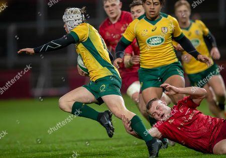 Munster U19's vs Australia Schools. Munster's Padraig McCarthy with John Connolly of Australia Schools