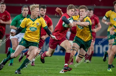 Munster U19's vs Australia Schools. Munster's Jack Crowley with Max Douglas and Carter Gordon of Australia Schools