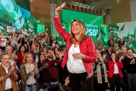 Andalusian Regional President and socialist candidate for the re-election Susana Diaz attends an electoral rally on occasion of the closing of the electoral campaign for the regional elections in Andalucia region held in Sevilla, southern Spain, 30 November 2018. Andalucia's regional elections will be held on 2 December 2018.