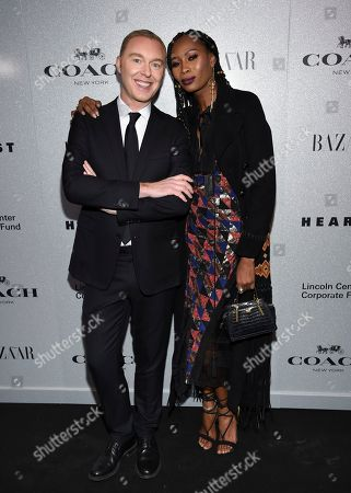 Stuart Vevers, Dominique Jackson. Coach creative director Stuart Vevers, left, and Dominique Jackson attend the Lincoln Center Corporate Fund fashion gala honoring Coach at Alice Tully Hall, in New York