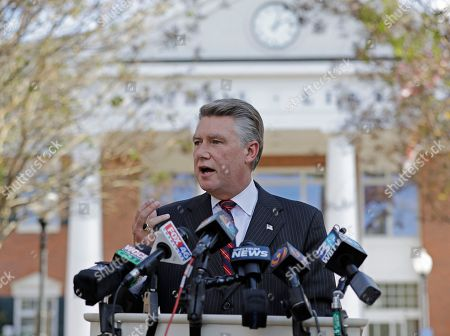 """Mark Harris speaks to the media during a news conference in Matthews, N.C. North Carolina election officials agreed Friday, Nov. 30, to hold a public hearing into alleged """"numerous irregularities"""" and """"concerted fraudulent activities"""" involving traditional mail-in absentee ballots in the 9th Congressional District, apparently in two rural counties. Republican Harris leads Democrat Dan McCready by 905 votes from nearly 283,000 cast in all or parts of eight south-central counties reaching from Charlotte to near Fayetteville"""
