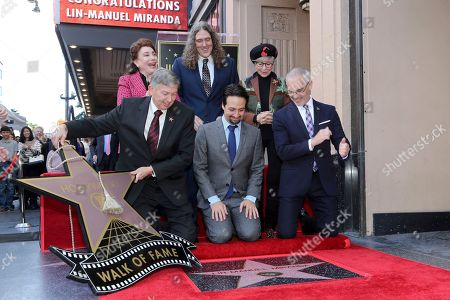 Mitch O'Farrell, Rita Moreno, Lin-Manuel Miranda, 'Weird Al' Yankovic, Leron Gubler, Donelle Dadigan. Mitch O'Farrell, from right, Rita Moreno, Lin-Manuel Miranda, 'Weird Al' Yankovic, Leron Gubler and Donelle Dadigan unveil the star at the ceremony honoring Lin-Manuel Miranda with a star at the Hollywood Walk of Fame, in Los Angeles