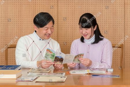Stock Image of Naruhito, Aiko. In this Nov. 25, 2018, photo provided by the Imperial Household Agency of Japan, Japan's Princess Aiko talks with her father Crown Prince Naruhito about her school trip, at Togu Palace in Tokyo. Princess Aiko, daughter of Crown Prince Naruhito and Crown Princess Masako, celebrated 17th birthday on