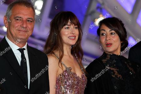 Laurent Cantet, Dakota Johnson, Tala Hadid attend 17th Marrakech International Film Festival Opening Ceremony in Marrakech, Morocco, . The festival runs from Nov. 30 - Dec.8