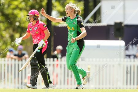 Holly Ferling of Melbourne Stars celebrates the wicket of Ashleigh Gardner of Sydney Sixers during the Perth Scorchers vs Hobart Hurricanes Women's Big Bash League match at the CitiPower Centre, St.Kilda, Melbourne. Picture by Martin Keep