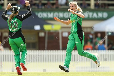 Stock Photo of Holly Ferling of Melbourne Stars celebrates the wicket of Ashleigh Gardner of Sydney Sixers with Mignon du Preez of Melbourne Stars during the Perth Scorchers vs Hobart Hurricanes Women's Big Bash League match at the CitiPower Centre, St.Kilda, Melbourne. Picture by Martin Keep