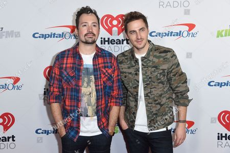 Dustin Belt, Kendall Schmidt. Dustin Belt, left, and Kendall Schmidt, of Heffron Drive, arrive at Jingle Ball, at The Forum in Inglewood, Calif