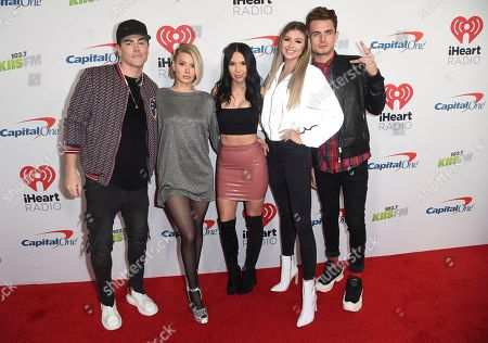 """Tom Sandoval, Ariana Madix, Scheana Shay, Raquel Leviss, James Kennedy. Tom Sandoval, from left, Ariana Madix, Scheana Shay, Raquel Leviss and James Kennedy, from the cast of """"Vanderpump Rules,"""" arrive at Jingle Ball, at The Forum in Inglewood, Calif"""