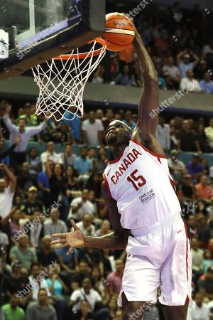 Stock Photo of Joel Anthony of Canada in action during the FIBA 2019 China Basketball Word Cup Group F qualifying match between Venezuela and Canada at the Gimnasio Jose Joaquin Papa Carrillo in Caracas, Venezuela, 30 November 2018.