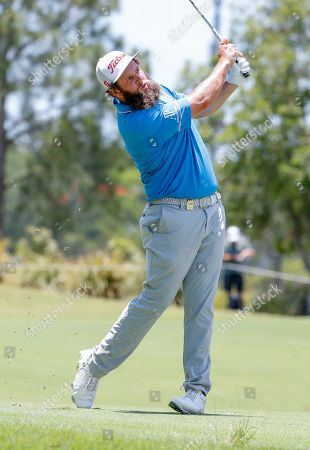 Andrew Johnston of England watches his shot on day three of the Australian PGA Championships at the Royal Pines Resort on the Gold Coast, Australia, 01 December 2018.