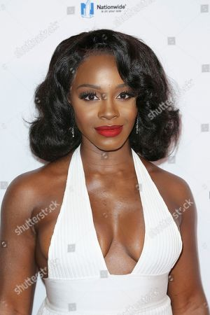 Deborah Ayorinde arrives at the 2018 EBONY Power 100 Gala at the Beverly Hilton, in Beverly Hills, Calif