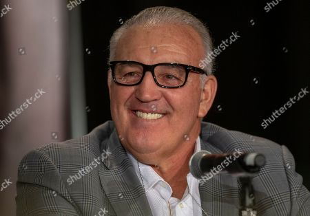 Stock Photo of Former heavyweight champion Gerry Cooney talks to the media at a Heavyweight Legends roundtable in Los Angeles
