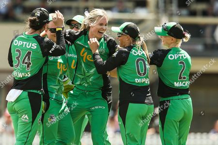 Holly Ferling of Melbourne Stars celebrates a wicket with team mates during the Melbourne Stars vs Sydney Sixers Women's Big Bash League match at the CitiPower Centre, St.Kilda, Melbourne. Picture by Martin Keep