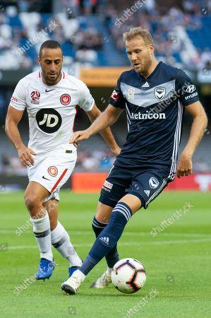 Melbourne Victory forward Ola Toivonen (11) controls the ball