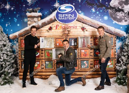 BBC Casualty stars (L to R) Michael Stevenson, Jason Durr, and George Rainsford turn out with others to launch The Spin Master Toys Charity Advent Calendar at KidZania