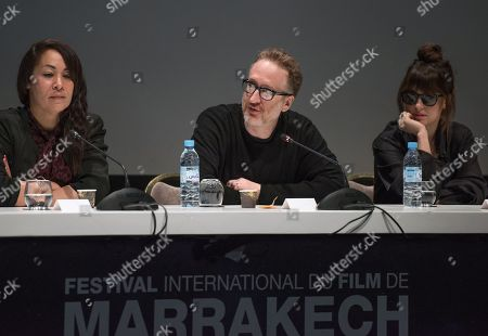 Jury members, Moroccan filmmaker Talal Hadid, US director James Gray and US actress Dakota Johnson attend a press conference at the 17th annual Marrakech International Film Festival, in Marrakech, Morocco, 01 December 2018. The festival runs from 30 November to 08 December.