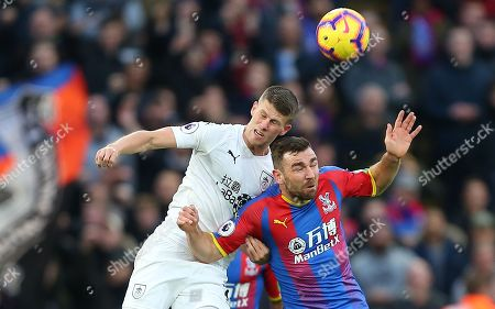 James McArthur of Crystal Palace  battles with  Johann Berg Gudmundsson  of Burnley