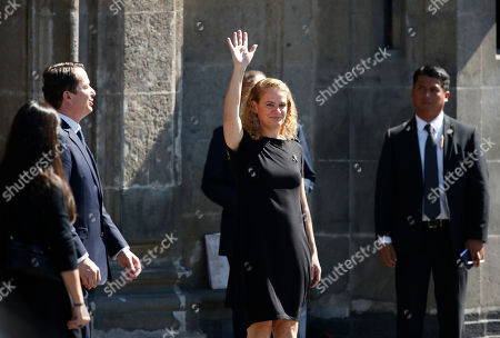 Governor-General of Canada Julie Payette waves to the crowd as she arrives to the National Palaces during Mexico's new President Andres Manuel Lopez Obrador's inauguration day in Mexico City