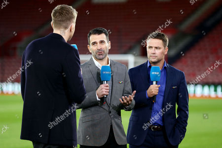 Stock Picture of Francis Benali and Michael Owen speak on BT Sports.