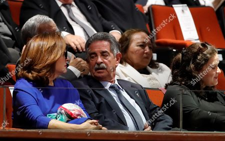 President of the Spanish autonomous community of Cantabria, Miguel Angel Revilla (C), and wife Aurora Diaz (L) attend the investiture of Mexican President-elect Andres Manuel Lopez Obrador, at the Mexican Congress, in Mexico City, Mexico, 01 December 2018.