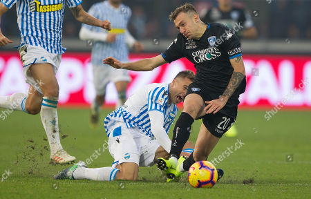 SPAL's Thiago Cionek red-carded for this challenge on Empoli's Antonino La Gumina.