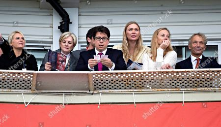 Kitty McIntyre, Lady Lloyd Weber, Michael McIntyre, Jodie Kidd and former champion jockey John Francome