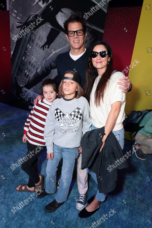 Arlo Clapp, Rocko Akira Clapp, Johnny Knoxville and Naomi Nelson during the Red Carpet Premiere of Columbia Pictures and Sony Pictures Animation's SPIDER-MAN: INTO THE SPIDER-VERSE at Regency Village Theatre.