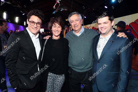 Phil Lord, Writer/Producer, Kristine Belson, President of Sony Pictures Animation, Tony Vinciquerra, Chairman and Chief Executive Officer, Sony Pictures Entertainment, and Christopher Miller, Producer, during the Red Carpet Premiere of Columbia Pictures and Sony Pictures Animation's SPIDER-MAN: INTO THE SPIDER-VERSE at Regency Village Theatre.